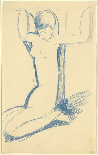 Modigliani: Your real duty is to save your dream: Kneeling Blue Caryatid c.1911 Blue crayon 43 x 26.5 cm Courtesy: Richard Nathanson, London. What I am searching for is neither the real nor the unreal, but the mystery of what is instinctive in the human race, wrote Modigliani in 1907. Anna Akhmatova [1889-1966] is considered, with Boris Pasternak and Osip Mandelstam, the greatest Russian poet of the twentieth century. She met Modigliani in 1910 on honeymoon, during her first visit to Paris. She returned alone in early 1911 and they became very close. Akhmatova's charismatic beauty and grace; her dream-like otherworldliness and passion for poetry; and her extraordinary, elongated, sensual body had a mesmerising effect on Modigliani and played a crucial role in defining the ideal visual form he had been 'searching for' to express, most completely and beautifully, his artistic-spiritual vision. Unlike the many caryatid figures Modigliani drew whose faces portray anonymous, often androgynous beings, this drawing portrays a human face which, as the photograph on p.62 shows, is almost certainly a most tender and loving portrait of Anna Akhmatova with her oval-shaped face, noted fringe and long, graceful body.