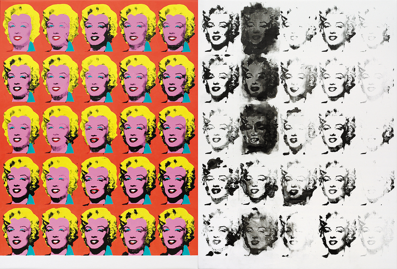 Sturtevant Double Trouble: Sturtevant. Warhol Diptych. 1973/2004. Synthetic polymer screenprint and acrylic on canvas. 6′ 11 7/8″ × 10′ 6 3/4″ (213 × 322 cm). Pinault Collection. Photo: Axel Schneider, Frankfurt am Main. © Estate Sturtevant, Paris
