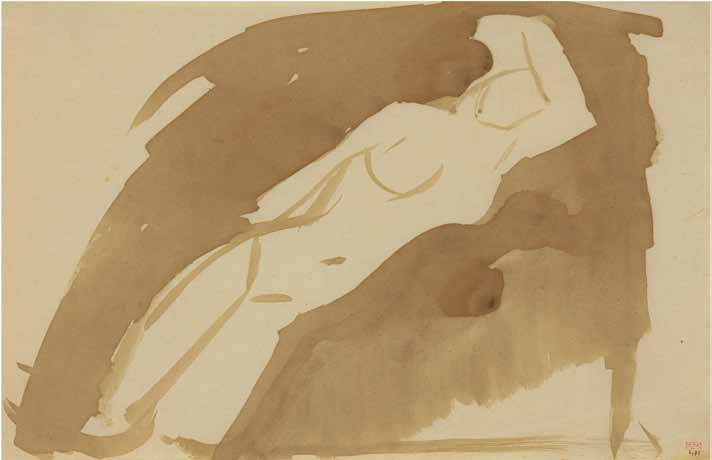 Modigliani: Your real duty is to save your dream: In 1908, Modigliani painted his first known nudes. This sheet was most probably drawn the following year. And in its elongated, sensual pose resides the genesis of his great nudes. Eerily prescient (and recalling his quoted letter to Oscar Ghiglia, eight years earlier) is a lyrical, symbolically-flowing energy which also defines Modigliani's last three nudes of 1919. Evident too is his great love for Titian.