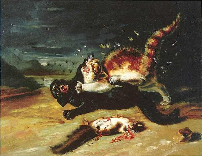 Two House Cats Fighting Painting By JJ Audubon