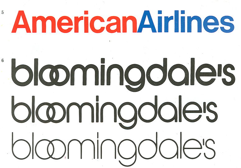 Massimo Vignelli 1931-2014: American Airlines logo and Bloomingdales Department Store logo.