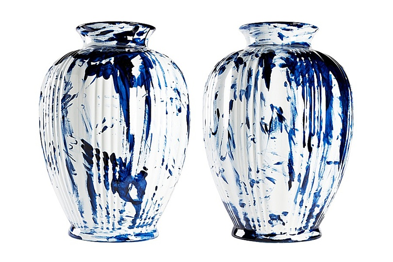Marcel: Marcel Wanders, One Minute Delft Blue, vases, 2006  Personal Editions, painted and glazed ceramic