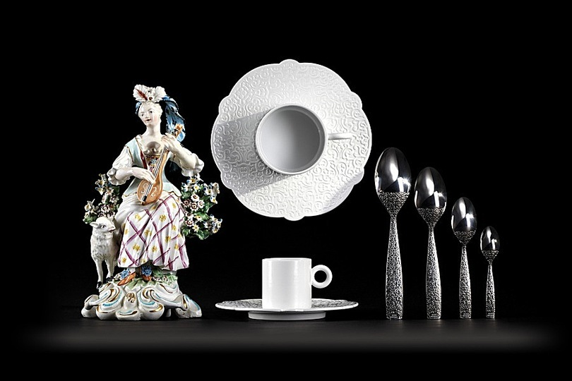 Marcel: Marcel Wanders, Dressed, tableware collection, 2011  Alessi, glazed porcelain, stainless steel, polished (Art direction photo: Marcel Wanders)