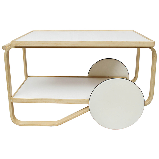 "Alvar Aalto furniture: Tea cart 901, 1936, Artek, Finland. Made of two continuous natural birch wood loops with white laminate ""hub cap"" wheels."
