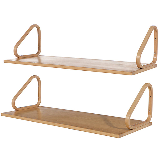 Alvar Aalto furniture: Wall mounted shelves in laminated birch.