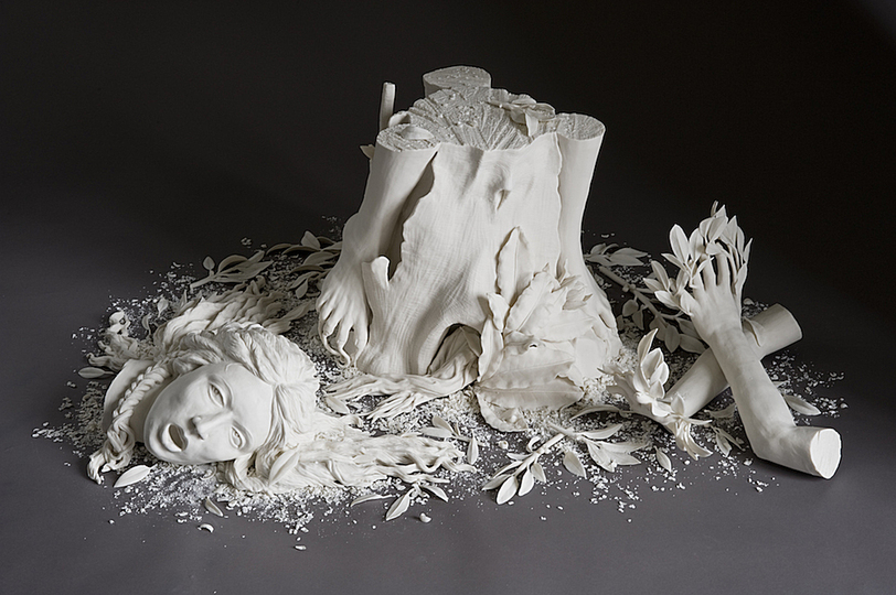 Body & Soul: Kate MacDowell, Daphne, 2007, Hand built porcelain. Collection of Karen Zukowski and David Diamond. Photo: Dan Kyitka.
