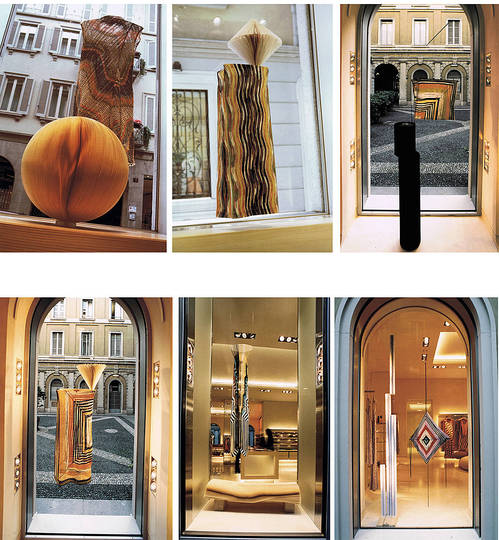 Carta. Materia viva, vibrante, mutevole.: Missoni 2000 Please touch window dressing - flagship store Milano