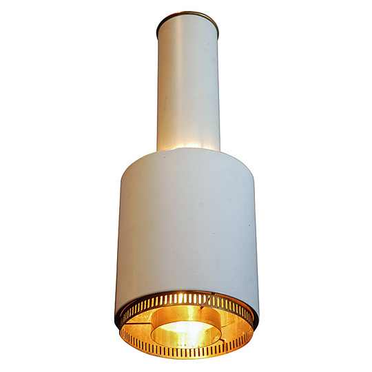 Alvar Aalto furniture: Ceiling pendant in white lacquered brass.