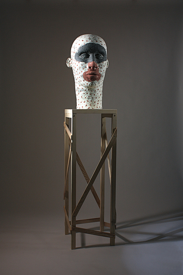 Body & Soul: Daphné Corregan, Smeared Face, 2012, Terracota, wood. Courtesy of the artist.