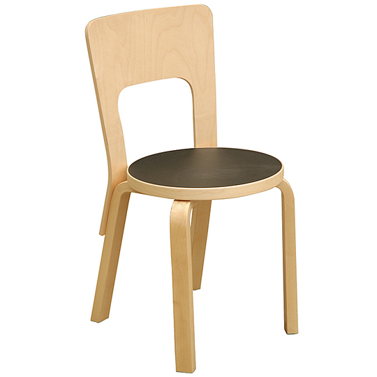 Alvar Aalto furniture: Chair 65 with black seat on blonde birch frame.