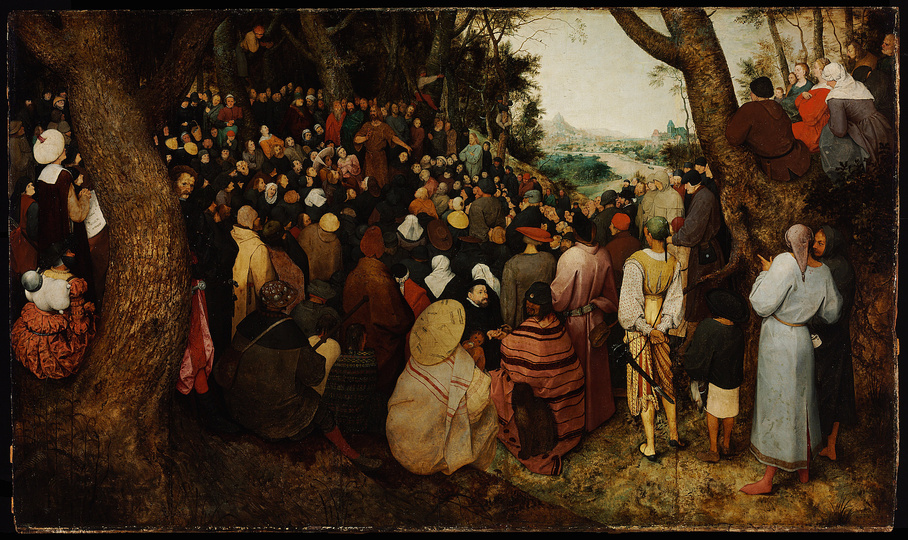 Pieter Bruegel the Elder: The Speaker: Pieter Brueghel the Elder (1526/1530–1569), The Sermon of St John the Baptist, 1566, oil on panel, 95 cm (37.4 in) x 160.5 cm (63.2 in) Museum of Fine Arts, Budapest.