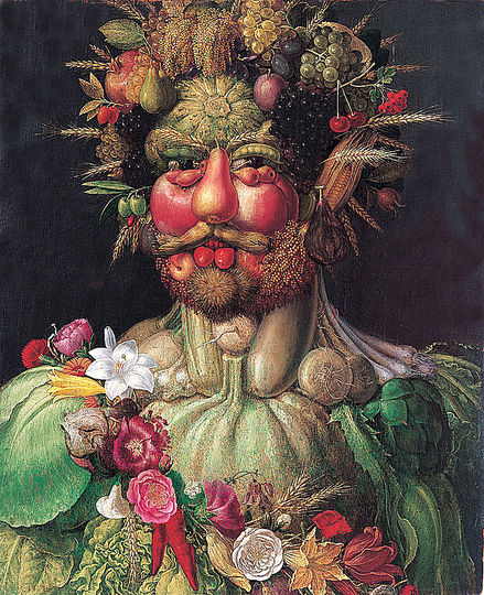 Summer by Arcimboldo: Vertumnus is a painting by Giuseppe Arcimboldo produced in Milan circa 1590-1591. The painting is Arcimboldo's most famous work and is a portrait of the Holy Roman Emperor Rudolf II re-imagined as Vertumnus, the Roman god of metamorphoses in nature and life. Collection of Skoklostersslott, Sweden.