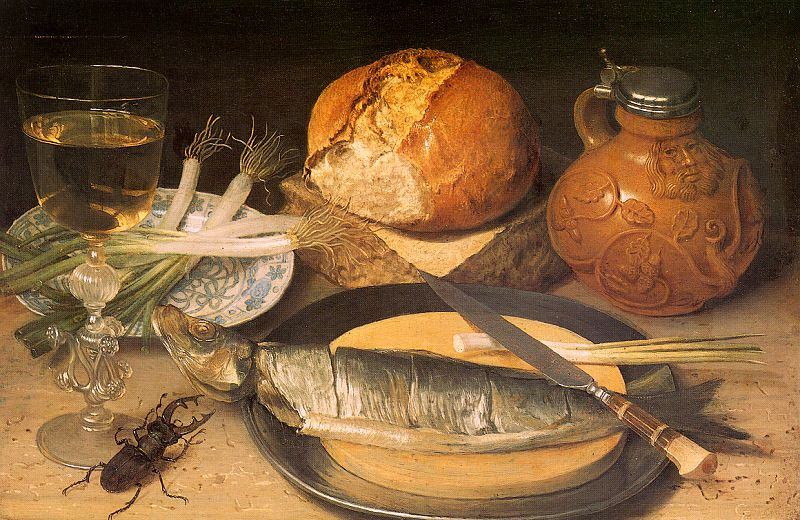 Georg Flegel: Still Life Painter: Breakfast Image with herring, Bartmann pitcher and a stag beetle.