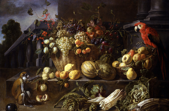 Still Life Monkeys: Adriaen van Utrecht (1599–1652), Still Life with Fruits, Vegetables, a Monkey and a Parrot in a Garden, 1646, oil on panel, 116.5 × 163.7 cm (45.9 × 64.4 in), Signed and dated on the stone base: