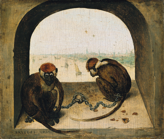 Pieter Bruegel: Pieter Bruegel the Elder (c. 1525/30 Breugel or Antwerp? – 1569 Brussels) Two Monkeys 1562, oak, 19.8 × 23.3 cm Staatliche Museen zu Berlin, Gemäldegalerie © Staatliche Museen zu Berlin, Gemäldegalerie / Christoph Schmidt