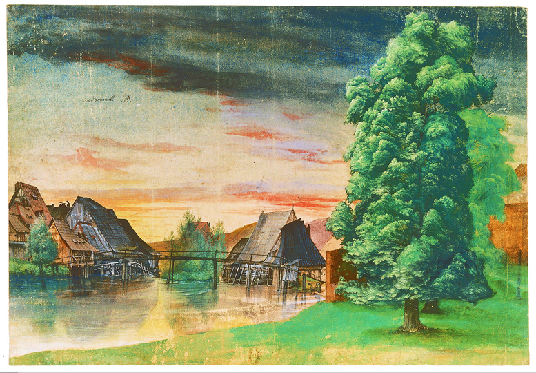Dürer - Observer of Nature: Willow Mill, after 1506 (?), pen and black ink (?), watercolour and bodycolour, 25.3 x 36.7 cm, Bibliothèque National, Département des Estampes et de la Photographie, Paris Photograph: Bibliothèque National, Département des Estampes et de la Photographie, Paris