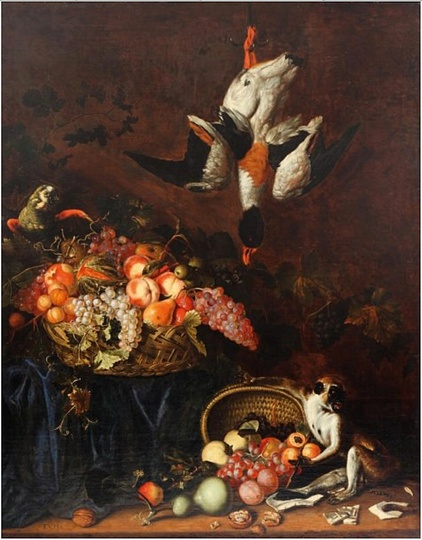 Still Life Monkeys: Frans van Cuyck, Still Life with Fruit Basket with a Monkey and a Parrot, 1663-1689, Oil on canvas, 139 x 110 cm. Private Collection.