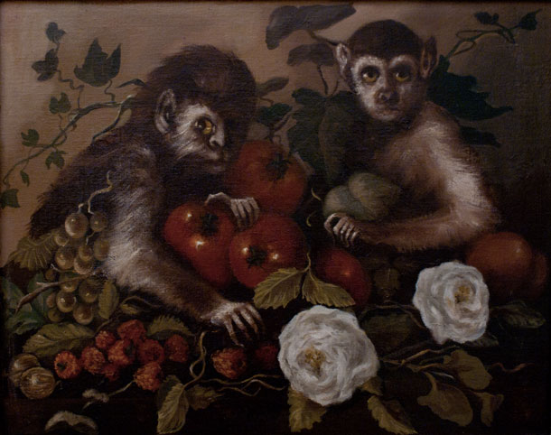 Still Life Monkeys: Alexandra Connor, Monkeys with Fruit and Flowers, Egg tempera & oil on canvas, 28