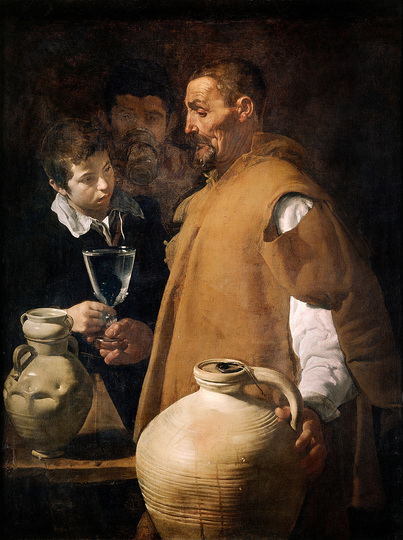 Diego Velázquez: Many regard this as  Velázquez' best work from his early years in Seville, and it is undoubtedly the most important of his bodegones. Diego Velázquez, The Waterseller, c. 1620-22, 106,7 x 81 cm. London, Apsley House, The Wellington Museum © English Heritage
