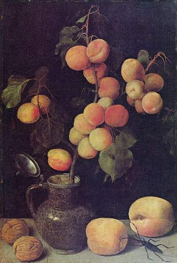 Georg Flegel: Still Life Painter: Peaches, circa 1630, oil on panel, Hessisches Landesmuseum Darmstadt.