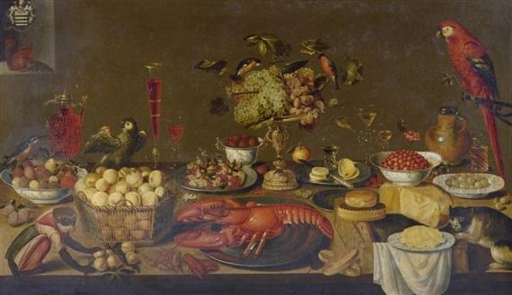 Still Life Monkeys: Artus Claessens, Large Banquet Still Life with Lobster, Fruits, Wine Glasses, Porcelain and Pewter Plates, Birds, Monkey, Squirrel and Cat, 99.4 x 170 cm, Oil on canvas.