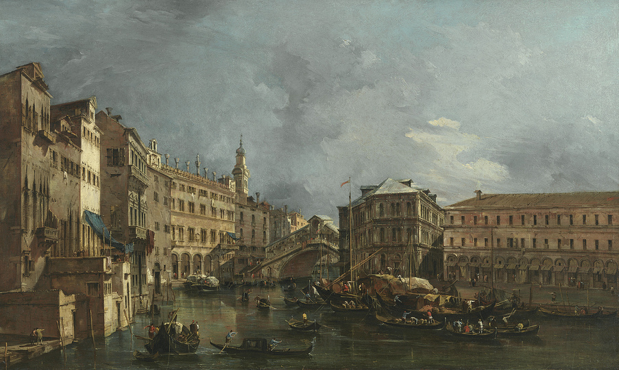 Venice without Tourists: Francesco Guardi (1712-1793), View of the Rialto and the Palazzo dei Camerlenghi, c. 1760 © Bayerische Staatsgemäldesammlungen, Alte Pinakothek, Munich/On permanent loan from the Collection HypoVereinsbank, Member of UniCredit