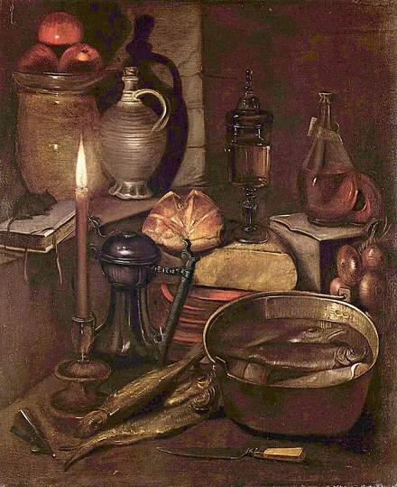 Georg Flegel: Still Life Painter: Pantry by candlelight, ca.1630-35. Source: Wikimedia Commons.