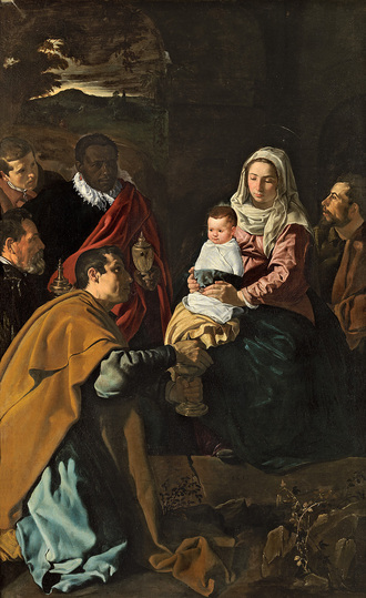 Diego Velázquez: When Velázquez painted this Adoration of the Magi it was his largest and most ambitious composition to date. It was probably commissioned by the Jesuits in Seville, with whom the artist's teacher and father-in-law maintained excellent relations. The protagonists were clearly painted from the life: the aged king on the left is a portrait of Pacheco, and both the king in the foreground and St. Joseph are modelled on Velázquez' himself. Diego Velázquez, The Adoration of the Magi, 1619, 203 x 125 cm © Photographic Archive, Museo Nacional del Prado, Madrid