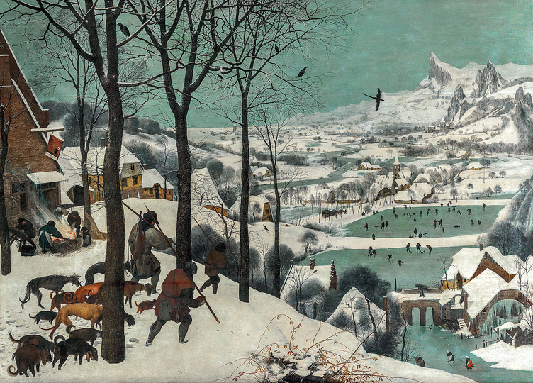 Pieter Bruegel: Pieter Bruegel the Elder (c. 1525/30 Breugel or Antwerp? – 1569 Brussels) Hunters in the Snow 1565, oak panel, 117 × 162 cm Kunsthistorisches Museum Vienna, Picture Gallery © KHM-Museumsverband