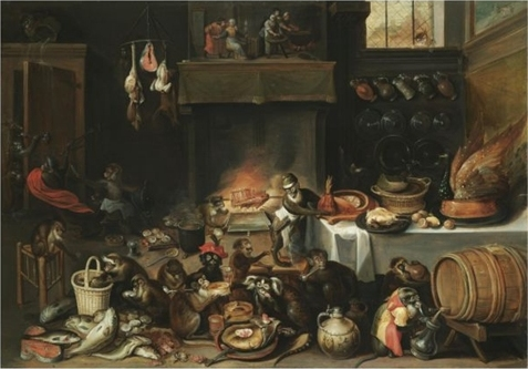 Still Life Monkeys: Formerly attributed to Ferdinand van Kessel (1648–1696)(Apes celebrating in the kitchen), 17th, oil on panel. Private collection. Auction by Sotheby's London 2008-07-10.