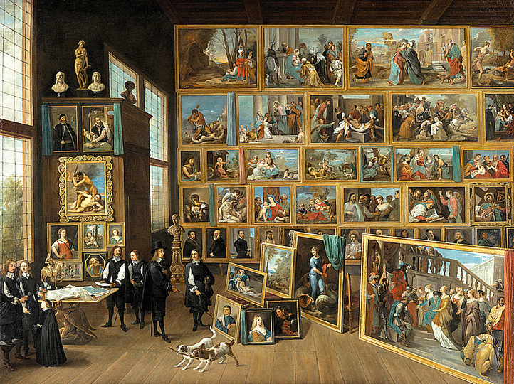 An Art Collector in His Art Chamber: Archduke Leopold Wilhelm in his gallery in Brussels painted by  David Teniers the younger, c. 1650,  canvas, 124 cm x 165 cm. Picture Gallery © KHM