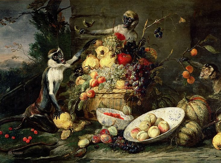 Still Life Monkeys: Unknown Dutch artist, The Cat's Meal. 1625-50