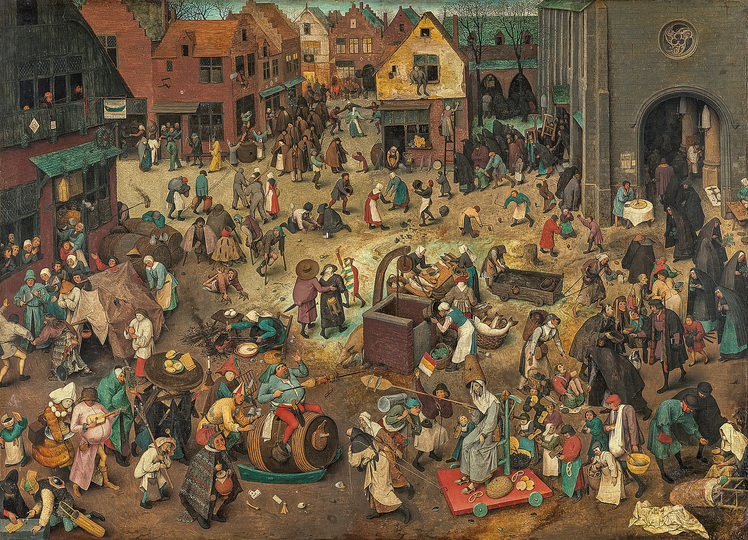 Pieter Bruegel: Pieter Bruegel the Elder (c. 1525/30 Breugel or Antwerp? – 1569 Brussels) The Battle between Carnival and Lent 1559, oak panel, 118 × 164,5 cm Kunsthistorisches Museum Vienna, Picture Gallery © KHM-Museumsverband