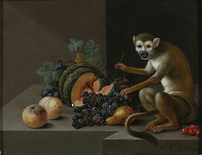 Still Life Monkeys: Johann Amandus Wink (1748-1817), Still Life with a Melon, Peaches.