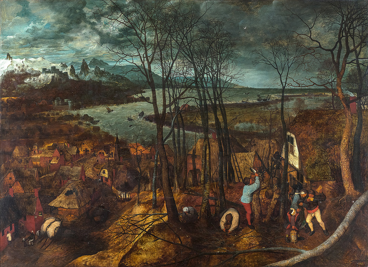 Pieter Bruegel: Pieter Bruegel the Elder (c. 1525/30 Breugel or Antwerp? – 1569 Brussels) The Gloomy Day 1565, oak panel, 118 × 163 cm Kunsthistorisches Museum Vienna, Picture Gallery © KHM-Museumsverband