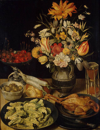 Georg Flegel: Still Life Painter: Still-Life with flowers and snacks, between 1630 and 1635 Medium	oil on panel, 53 cm (20.9 in) x 41 cm (16.1 in). Hermitage Museum.