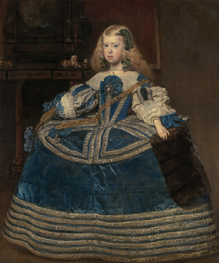 Diego Velázquez: It was his final portrait of the now eight-year-old princess. Together with the por- trait of her brother Felipe Prospero it was sent to Emperor Leopold I in Vienna in 1659. Diego Velázquez, The Infanta Margarita in a blue dress, 1659, 126 x 106 cm © KHM