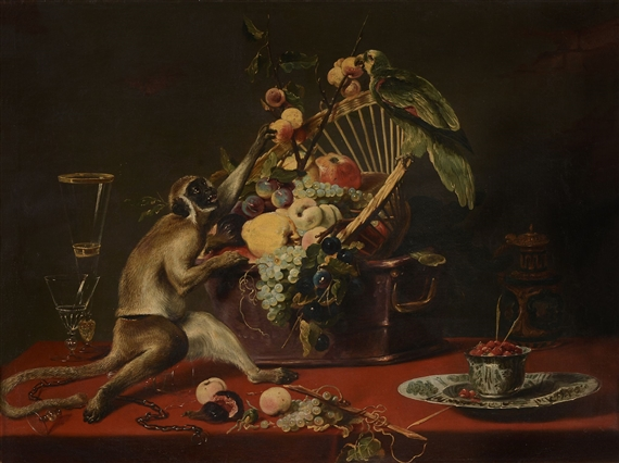 Still Life Monkeys: A Follower of Frans Snyders (1579-1657),  Still Life with Monkey seizing Fruit from a Basket, with a Parrot perched on Top,  Oil on canvas, 87 x 115 cm. (34 1/4 x 45 1/4 in). Provenance: Sale. Sotheby's London, Walter collection, 10th June 1942, lot 33 (illus., catalogued as autograph). Private collection, UK.