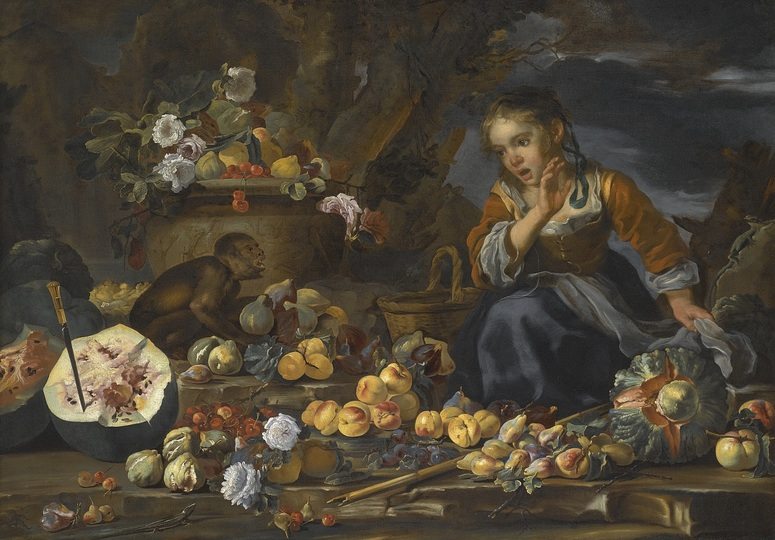 Still Life Monkeys: Bernard Keil and Michele Pace del Campidoglio, Still Life of Watermelons, Apples, Figs, Pommegranates, Flowers and Peaches with a Young Girl startled by a Monkey, oil on canvas, 117 x 165 cm, Private Collection.