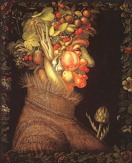 Summer by Arcimboldo: Allegory of Summer, painted in 1572-1573. Collection: Musée Du Louvre, Paris, France.