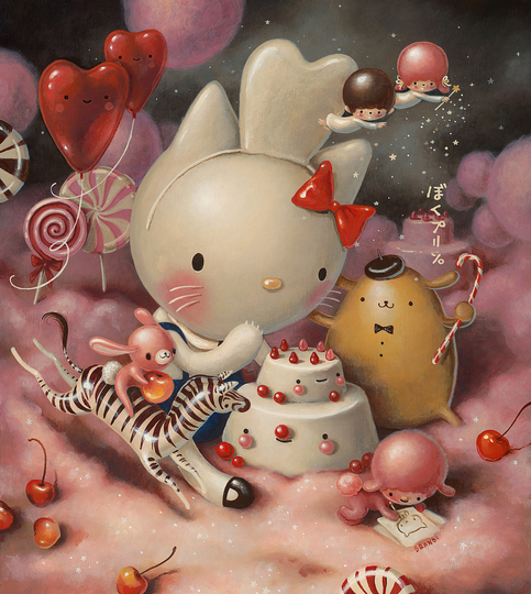 Hello Kitty Culture: Brandi Milne, Eat Cakes, You Kitty, 2014, Acrylic on Wood.