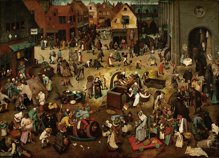 The Fight between Carnival and Lent: Pieter Bruegel the younger, 1559, oil on wood,	118 cm × 164 cm (46 in × 65 in), Kunsthistorisches Museum, Vienna.