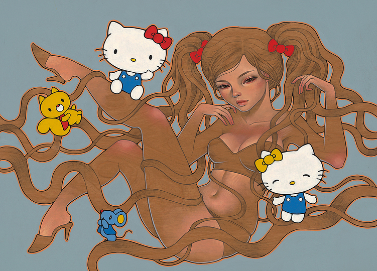 Hello Kitty Culture: Many Japanese artists and designers work in the the Japanese art of comic strips and cuteness aesthetics. Audrey Kawasaki, Hi Kitty, 2014, Oil and Graphite on Wood.