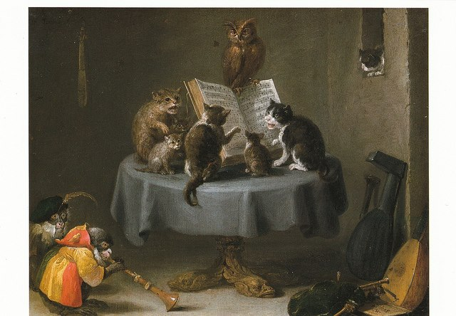 Still Life Monkeys: David Teniers, Cat Concert, Apes celebrating in the ( alchemical ) kitchen by Ferdinand Van Kessel, as always the fool mon-key present