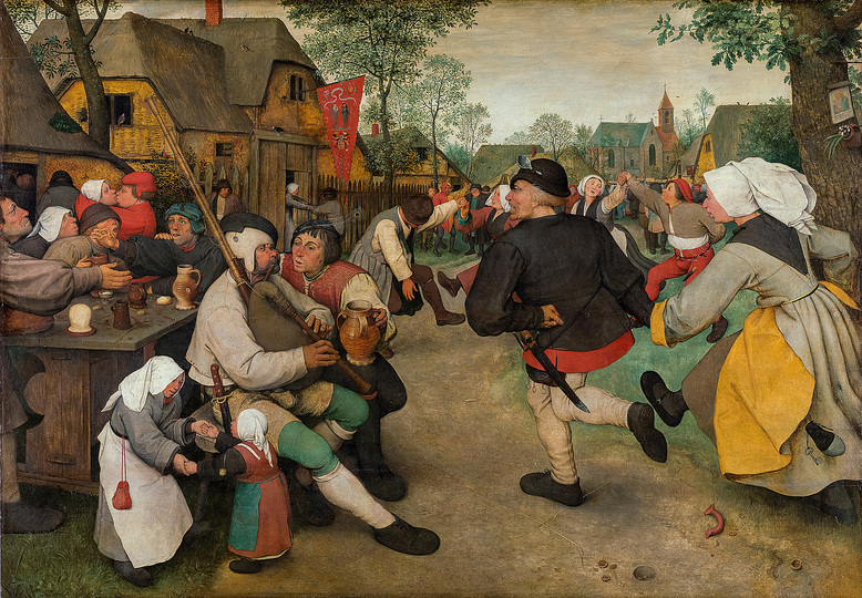 Pieter Bruegel: Pieter Bruegel the Elder (c. 1525/30 Breugel or Antwerp? – 1569 Brussels) Peasant Dance c. 1568, oak panel, 114 × 164 cm Kunsthistorisches Museum Vienna, Picture Gallery © KHM-Museumsverband