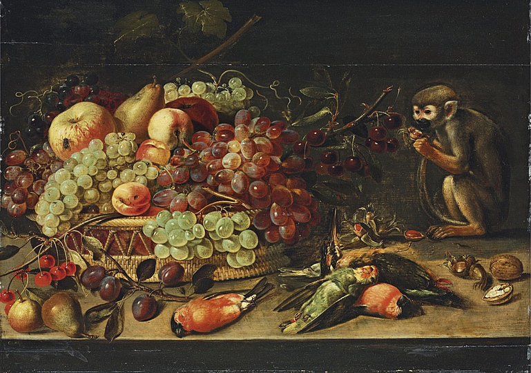 Still Life Monkeys: Clara Peeters, Haunting Apples, Cherries, Apricots and other Fruit in a Basket, with Pears, Plums, Robins, a Woodpecker, a Parrot and a Monkey eating Nuts, on a Table, oil on panel , 18¾ x 25¾ in. (47.6 x 65.5 cm.). Private Collection.