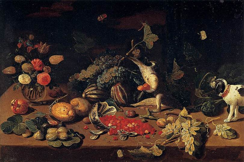 Still Life Monkeys: Jan van Kessel (1), Still Life with a Monkey stealing Fruit, 1660s, oil on copper, 23 x 33 cm, Pitti Palace.
