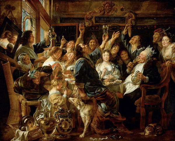 The Bean King: Jacob Jordaens (1593–1678), Fest des Bohnenkönigs, or The Festival of the Bean King, circa 1640/1645, oil on canvas, 242 × 300 cm (95.3 × 118.1 in), Kunsthistorisches Museum,Vienna.