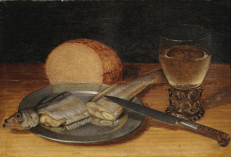 Georg Flegel: Still Life Painter: Still life with meal during fasting, 17th century, oil on panel, 24 × 35.2 cm (9.4 × 13.9 in) Source/Photographer Dorotheum.