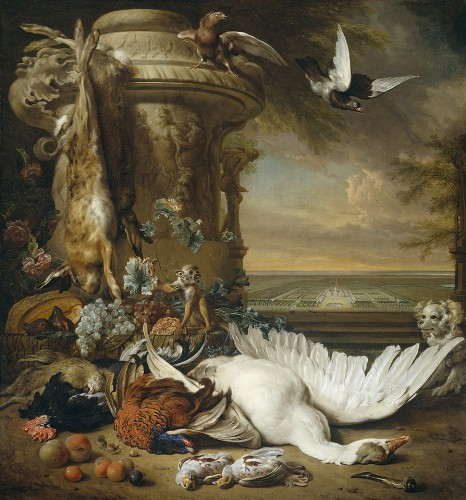 Still Life Monkeys: Jan Weenix (1640/41-1719), A Monkey and a Dog beside dead Game and Fruit, with the Sstate of Rijxdorp near Wassenaar in the background, 1714. Rijksmuseum, Amsterdam.